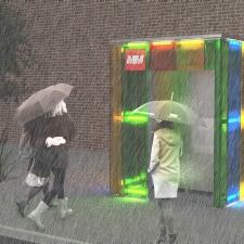 vista notturna con pioggia casa dell'acqua