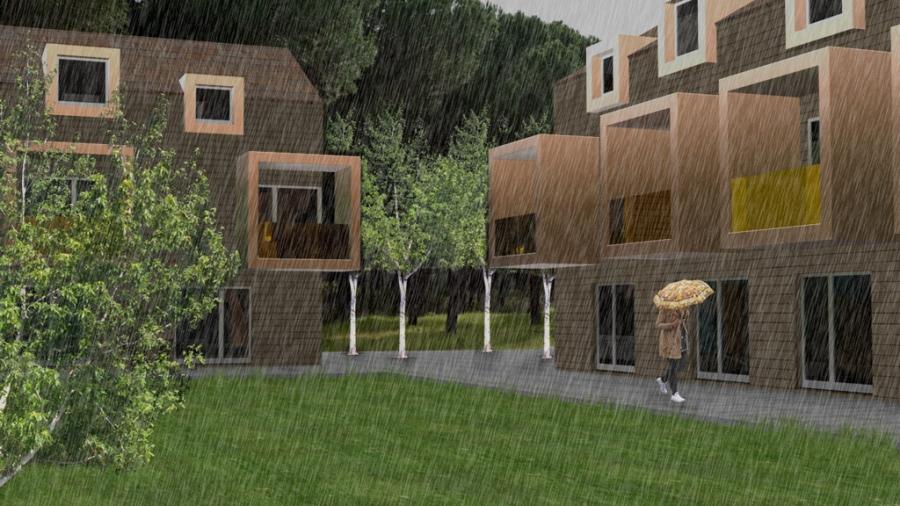 vista cortile interno residenza con pioggia